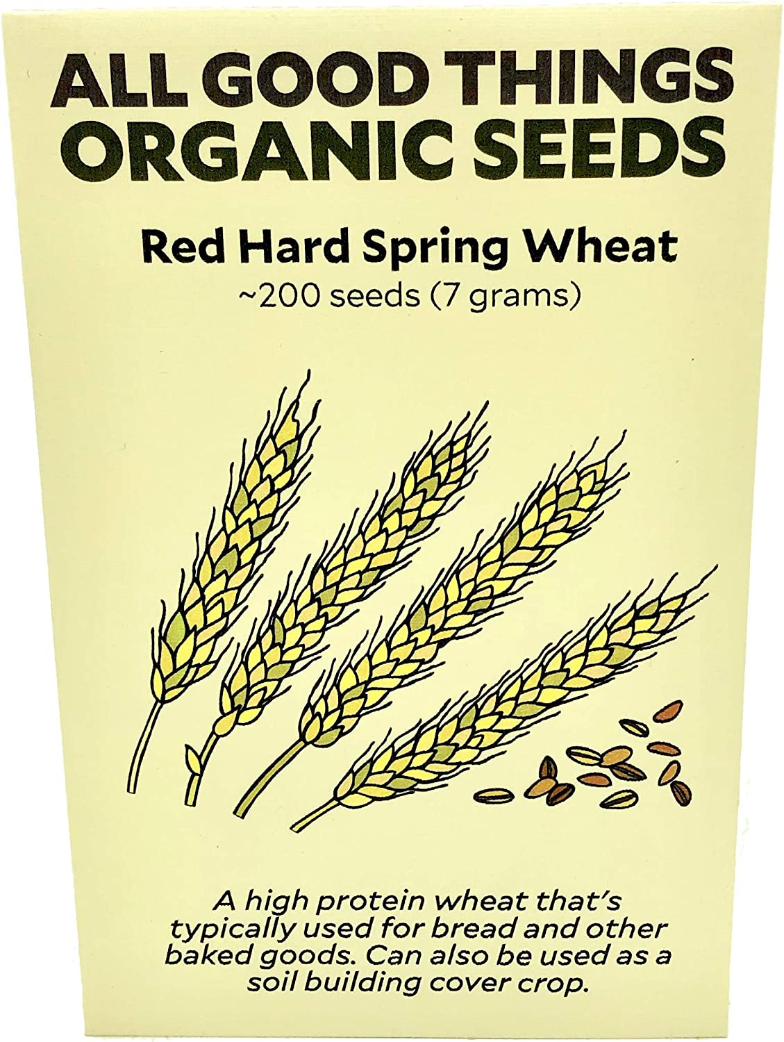 Glenn Red Hard Spring Wheat Seeds Non-GMO Seed Packet ~200 : Certified Organic