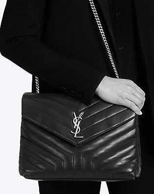 c8b5f16dea Amazon.com  Paper Yves Saint Laurent monogramme loulou loulou medium in  matelasse-y-leather shoulder bag (black)  Shoes