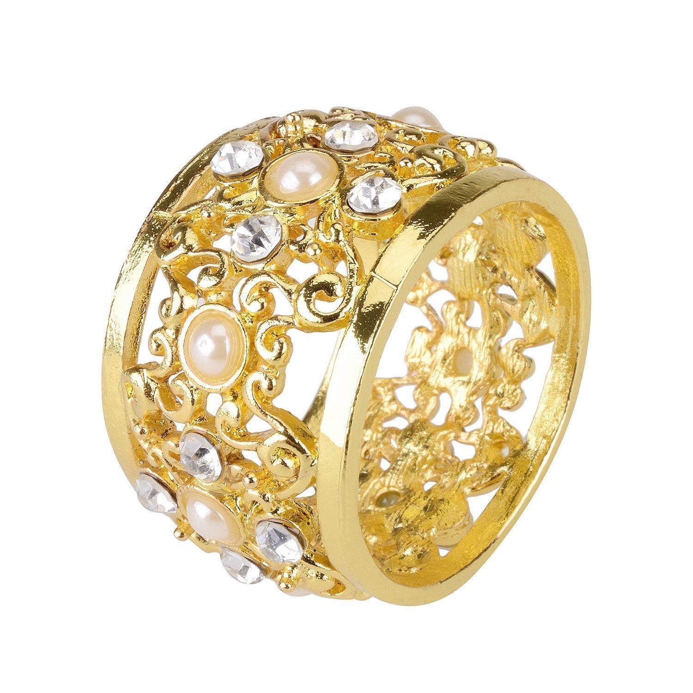 Syndecho Set di 4 Anello Portatovaglioli, Elegante Diamante Perle Wedding Anello di Tovagliolo per Festa di Nozze Tavola Decorazione (Dorato)
