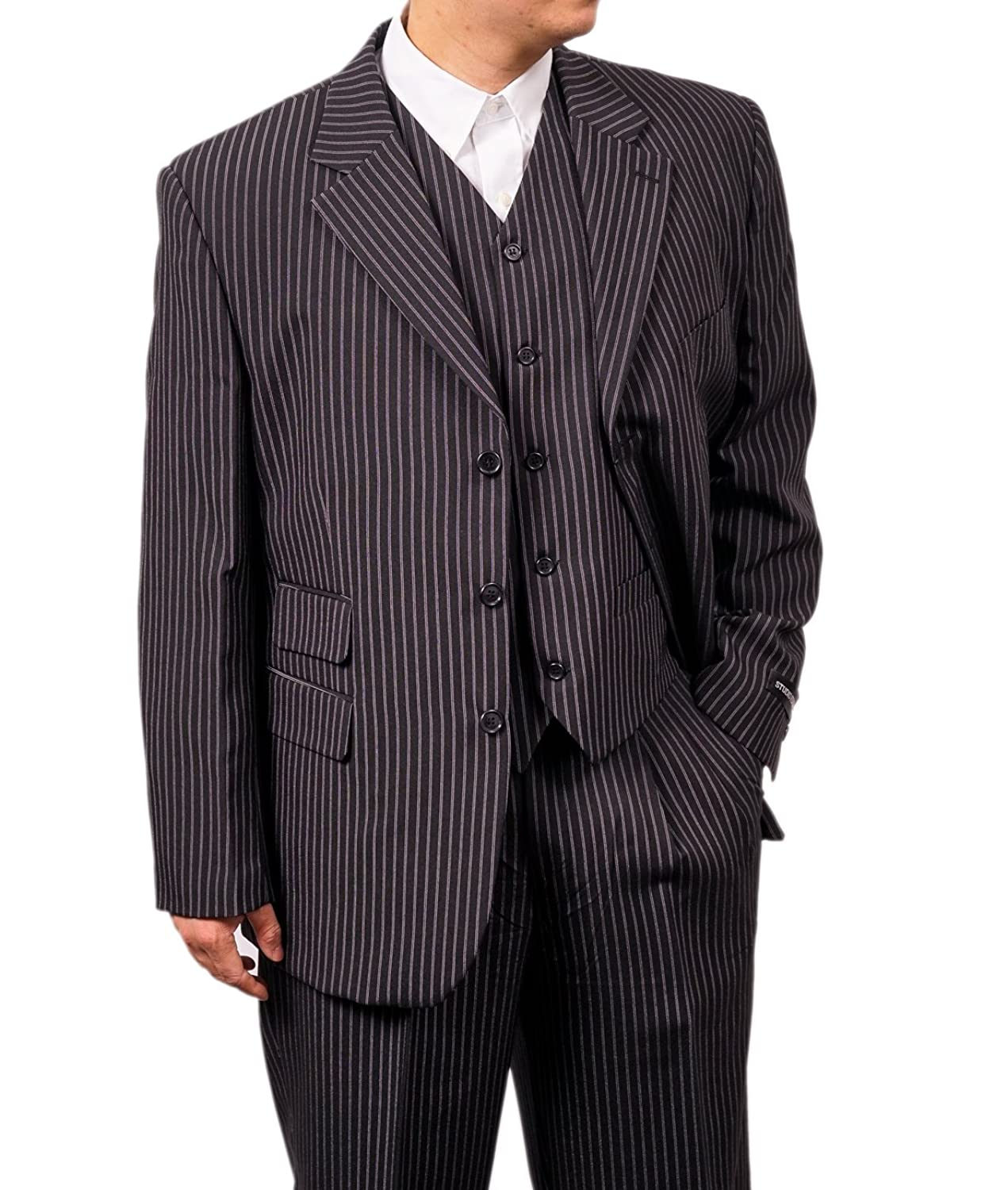 1940s Zoot Suit History & Buy Modern Zoot Suits New Mens 3 Piece Black Gangster Pinstripe Dress Suit with Matching Vest $119.99 AT vintagedancer.com