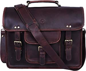 15 inch Vintage Leather Messenger Satchel Bag | Briefcase Laptop Messenger Bag by Aaron Leather (Walnut Brown)