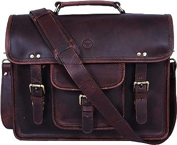 AARON LEATHER GOODS VENDIMIA ESTILO- 15-inch Vintage Leather Messenger Bag
