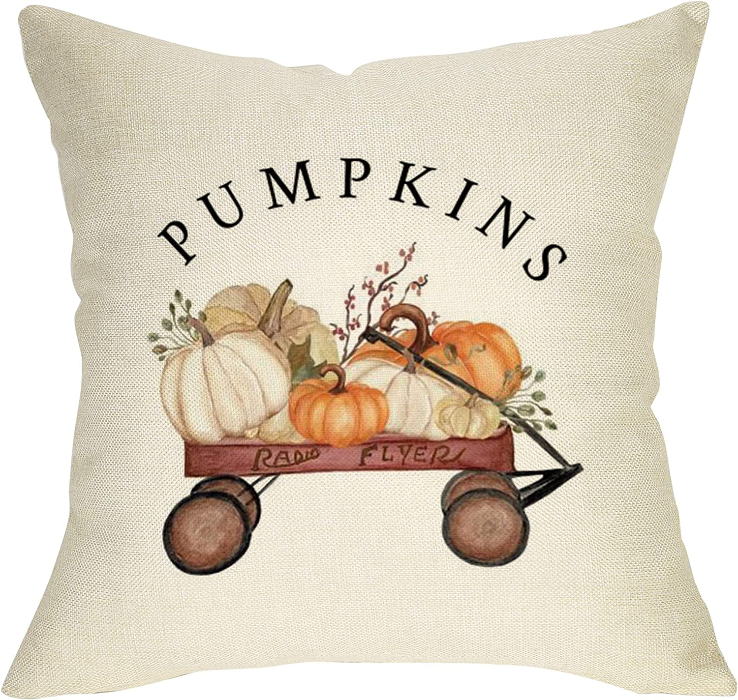 """Ussap Whimsical Pumpkins Fall Decoration Thanksgiving Day Farmhouse Decorative Throw Pillow Cover Cushion Case for Sofa Couch Vintage Red Wagon Autumn Harvest Sign Home Decor Cotton Linen 18"""" x 18"""" In"""
