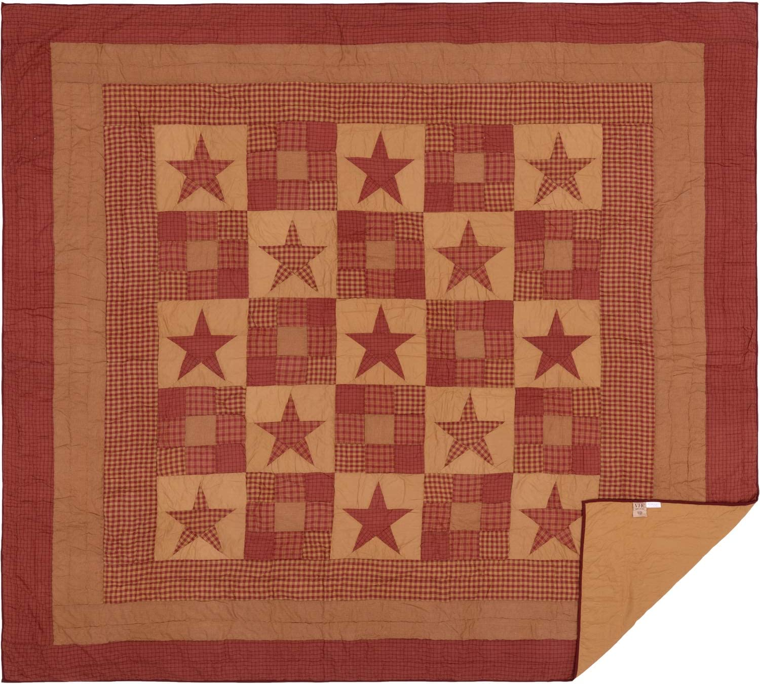 VHC Brands Classic Country Primitive Bedding - Ninepatch Star Red Quilt, King, Burgundy