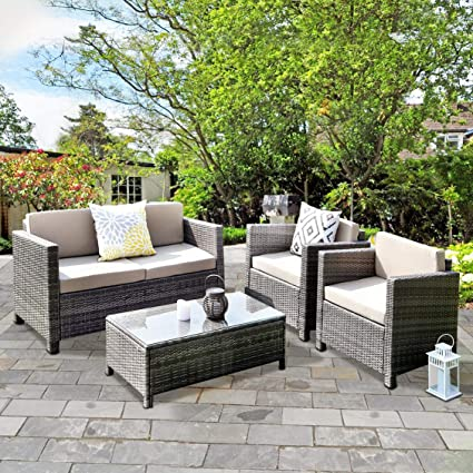Wisteria Lane Outdoor Patio Furniture Set,5 Piece Conversation Set Rattan  Sectional Sofa Couch Loveseat - Amazon.com : Wisteria Lane Outdoor Patio Furniture Set, 5 Piece