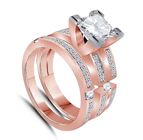 Corte Princesa 14 K bañado en oro rosa de aleación de color blanco circonitas cúbicas CZ