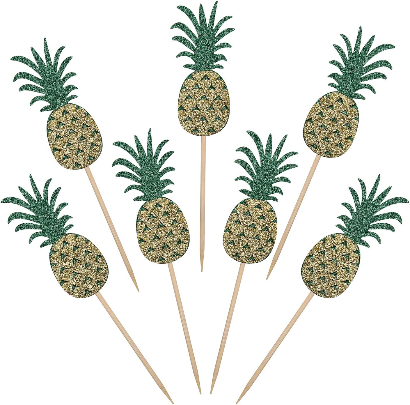 24 Pieces Glitter Pineapple Cupcake Topper Cake Picks Decoration for Hawaiian Tropical Luau Beach Summer Theme Party Decorations and Food Picks