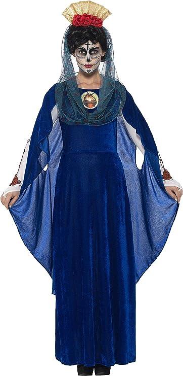 Smiffys Disfraz de Virgen del día de Muertos, Azul, con Vestido ...