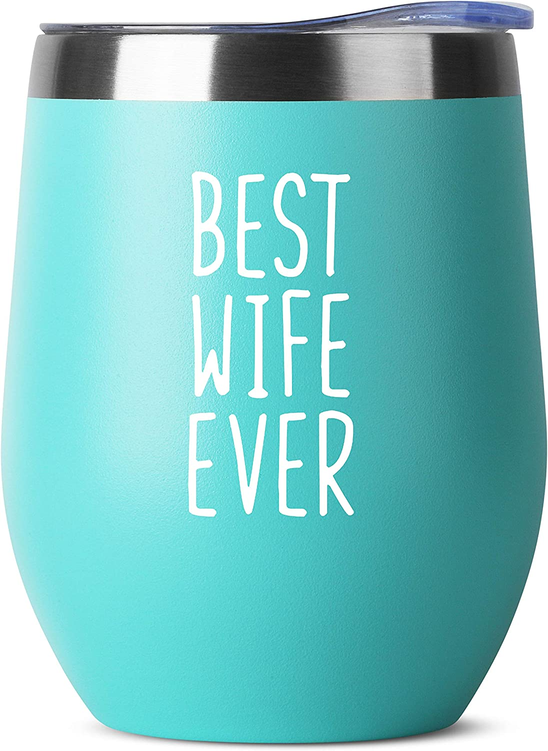 Best Wife Ever - Birthday Gifts for Women or Men - Stainless Steel Tumbler - 12 oz Mint Tumblers with Lid - Funny Anniversary Gift Ideas for Him, Her, Husband or Wife. Insulated Cups