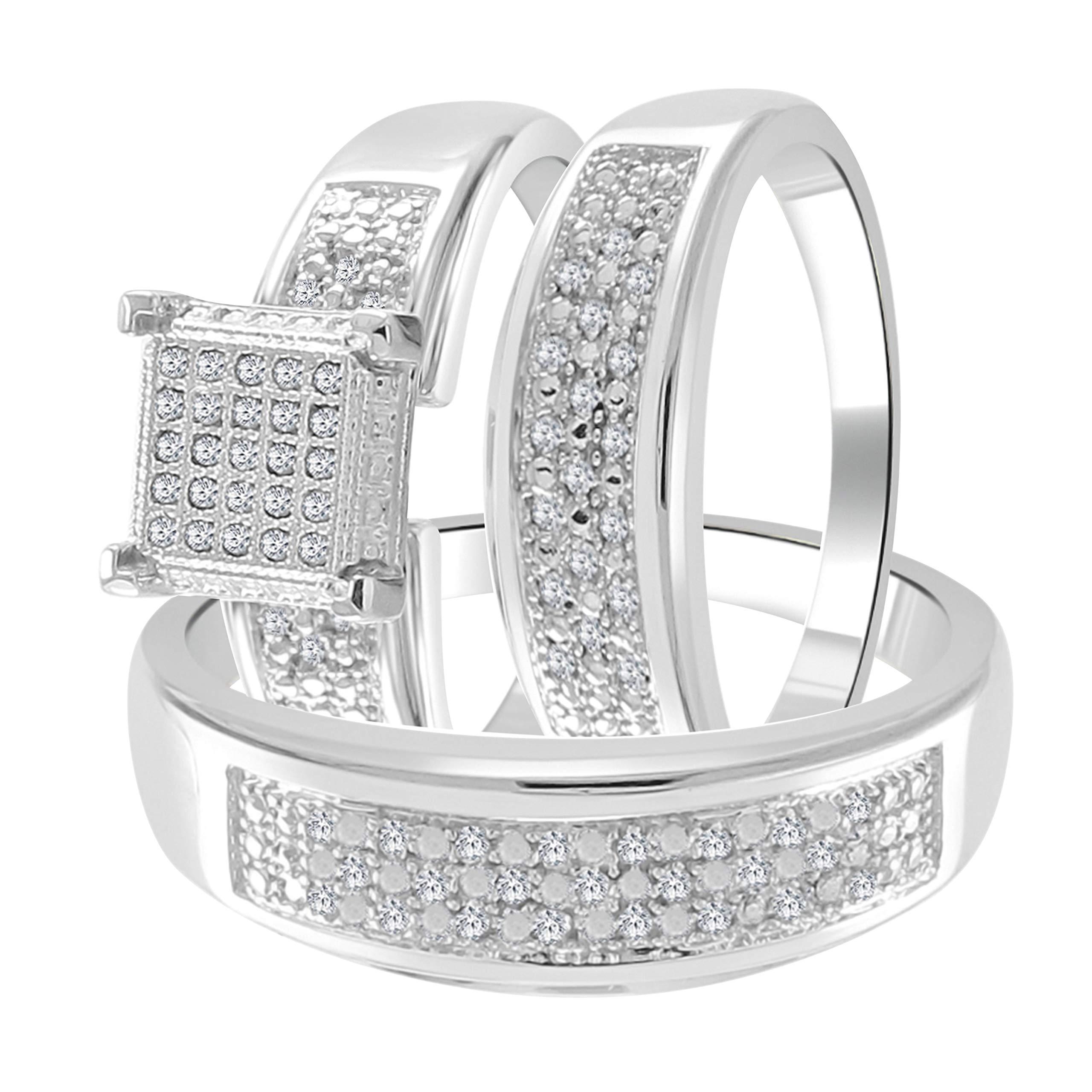 Trillion Jewels 0.23ct Natural Diamond (Clarity I2-I3/Colour I-J) S925 Trio Wedding Band Engagement Ring Set Him 10/ Her 7