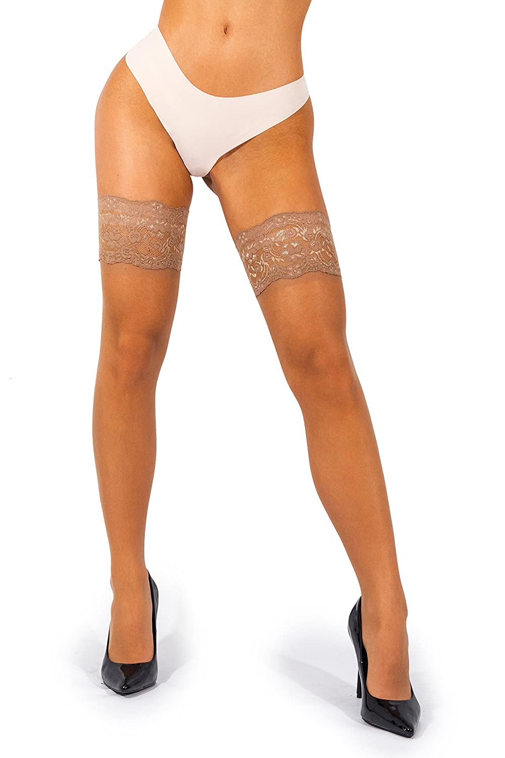 42573f257 sofsy Lace Thigh High Sheer Hold Up Nylon Pantyhose Stockings Deep ...