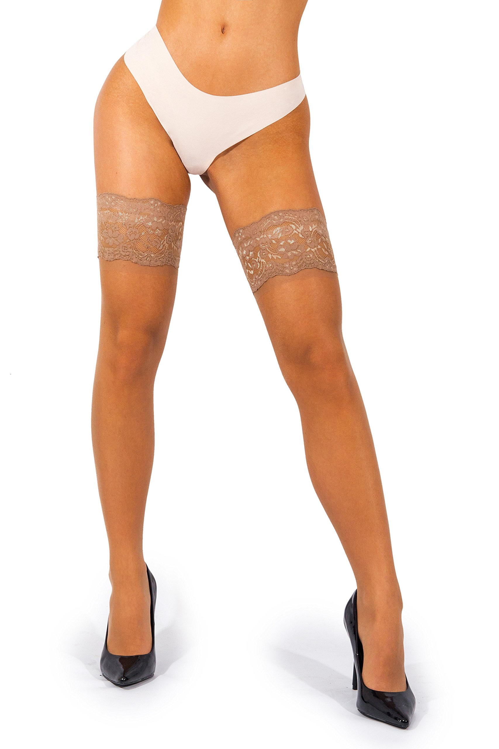 sofsy Lace Thigh-High Sheer Hold-Up Nylon Pantyhose Stockings Deep Wide Silicone Top 20 Denier [Made in Italy] Tan Beige Coffee 3/4 Medium/Large cd