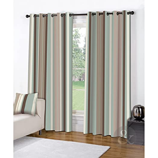 MODERN STRIPE EYELET CURTAINS U2013 Fully Lined Cream Brown Duck Egg Blue  Curtain Duck Egg (