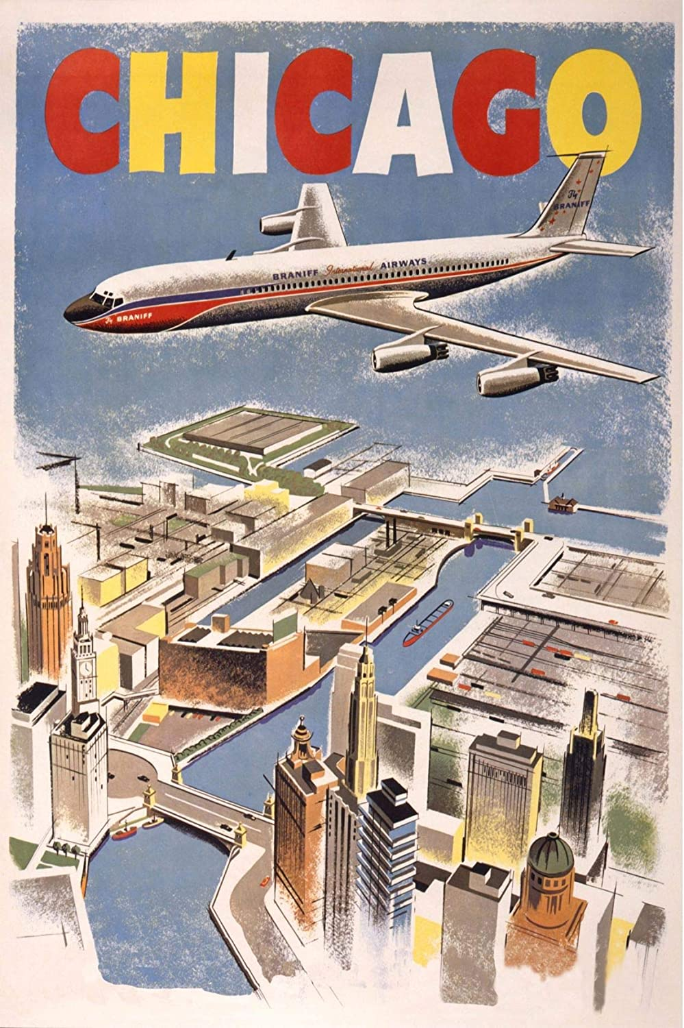 EzPosterPrints - Vintage Style Travel Poster Series- Poster Printing - Wall Art Print for Home Office Decor - Chicago-2-12X18 inches