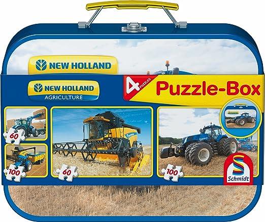 2 opinioni per Schmidt- New Holland Puzzle Box, Valigetta di Metallo, 2 x 60 Pezzi/2 x 100