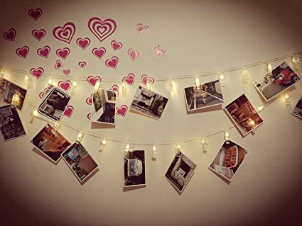 . ETTP Led Bedroom Lights  Photo Clips String Lights  Fun and Cute  Decorations Lights  USB Powered  30 LEDs  Warm White   for Hanging Photos  Pictures
