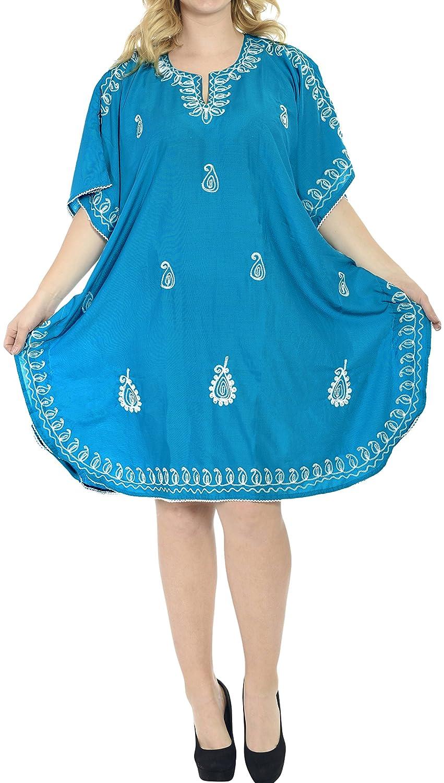 LA LEELA Frauen Damen Rayon Kaftan Tunika Bestickt Kimono freie Größe kurz Midi Party Kleid für Loungewear Urlaub Nachtwäsche Strand jeden Tag Kleider A