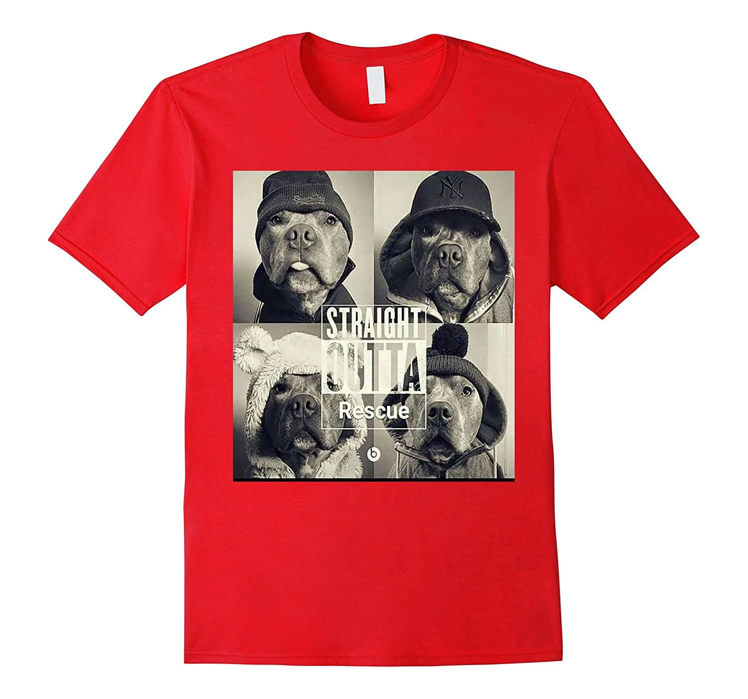 Straight Outta Rescue T-Shirt - Pit Bull Dog Shirt-FL