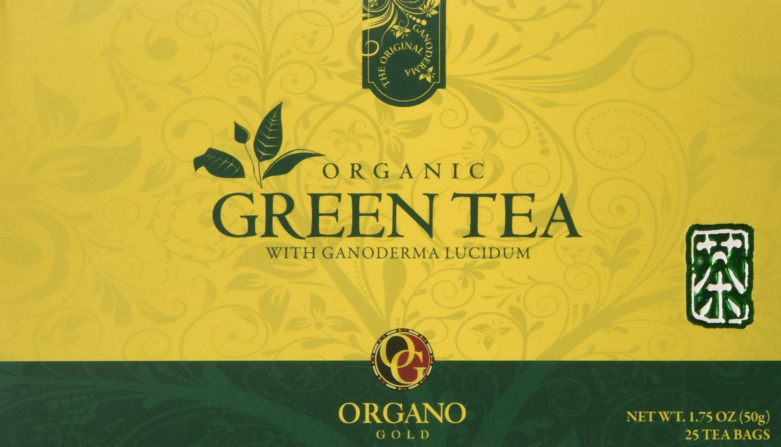 Organo Gold Green Tea with Ganoderma Lucidum (1 Box of 25 Sachets)