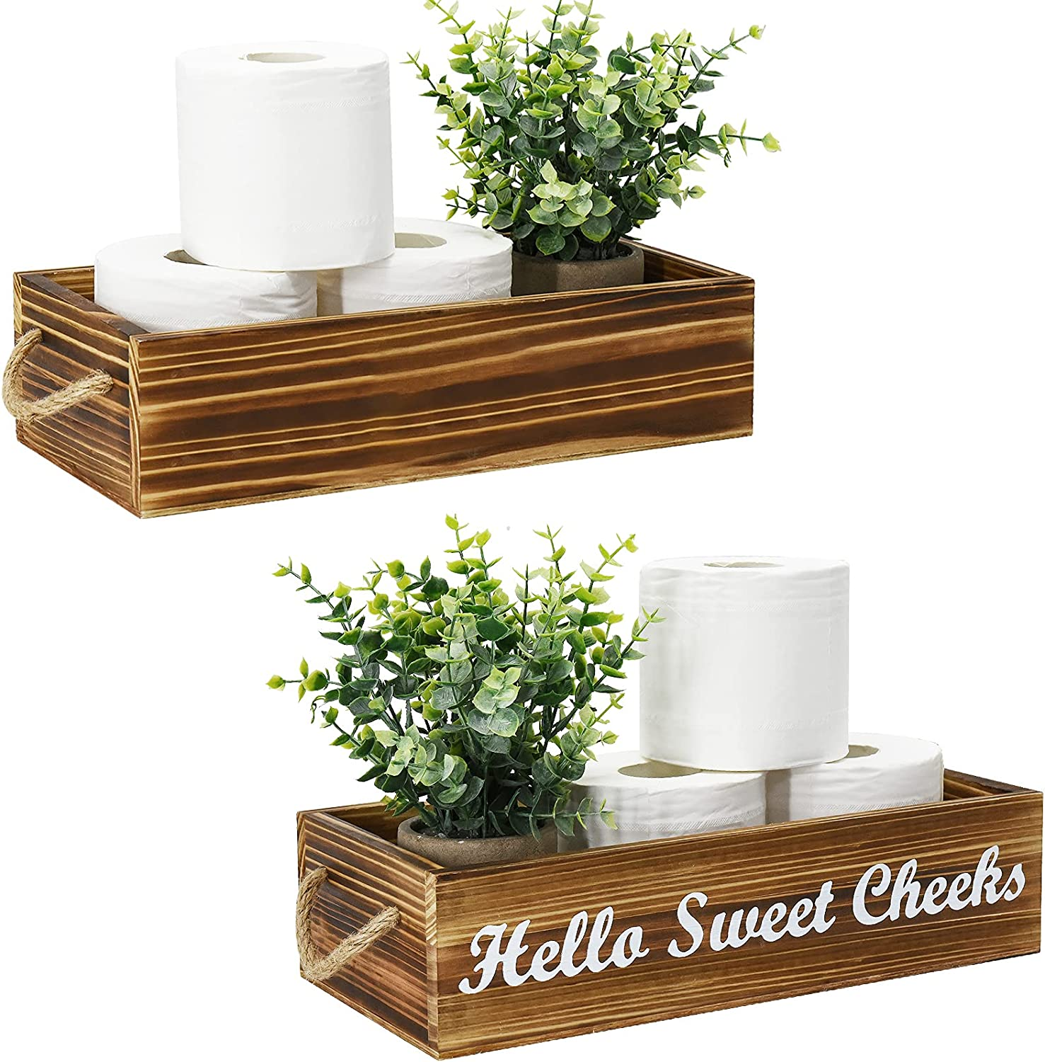 Bathroom Decor Box 2 Sides Funny Toilet Paper Holder Wood Tank Box Paper Storage Basket with Rope Handle Over Toilet Rustic Bathroom Paper Organizer Box with Funny Sign Farmhouse Home Decor Box