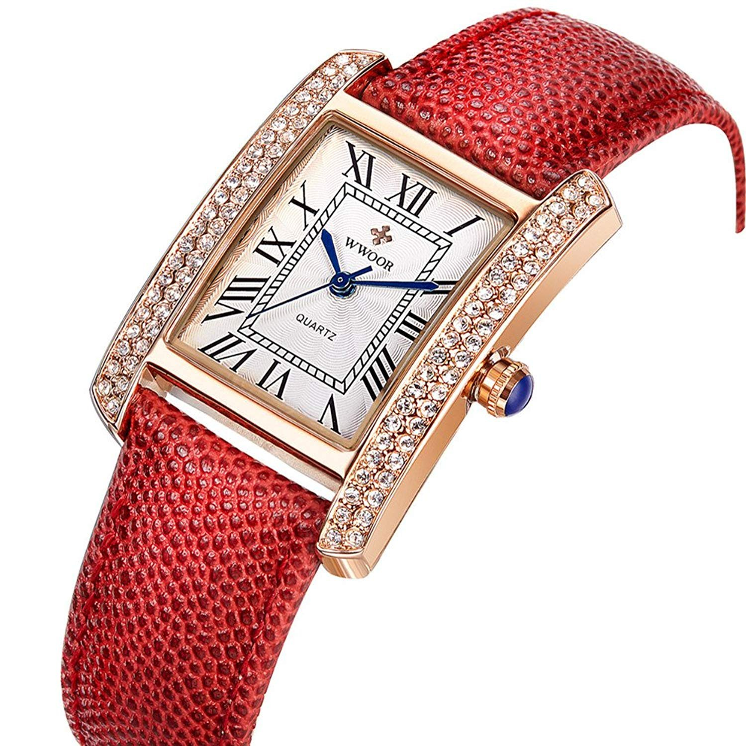 Women's Rectangle Quartz Watch Genuine Leather Strap Waterproof Rhinestone Luxury Classic Wristwatch