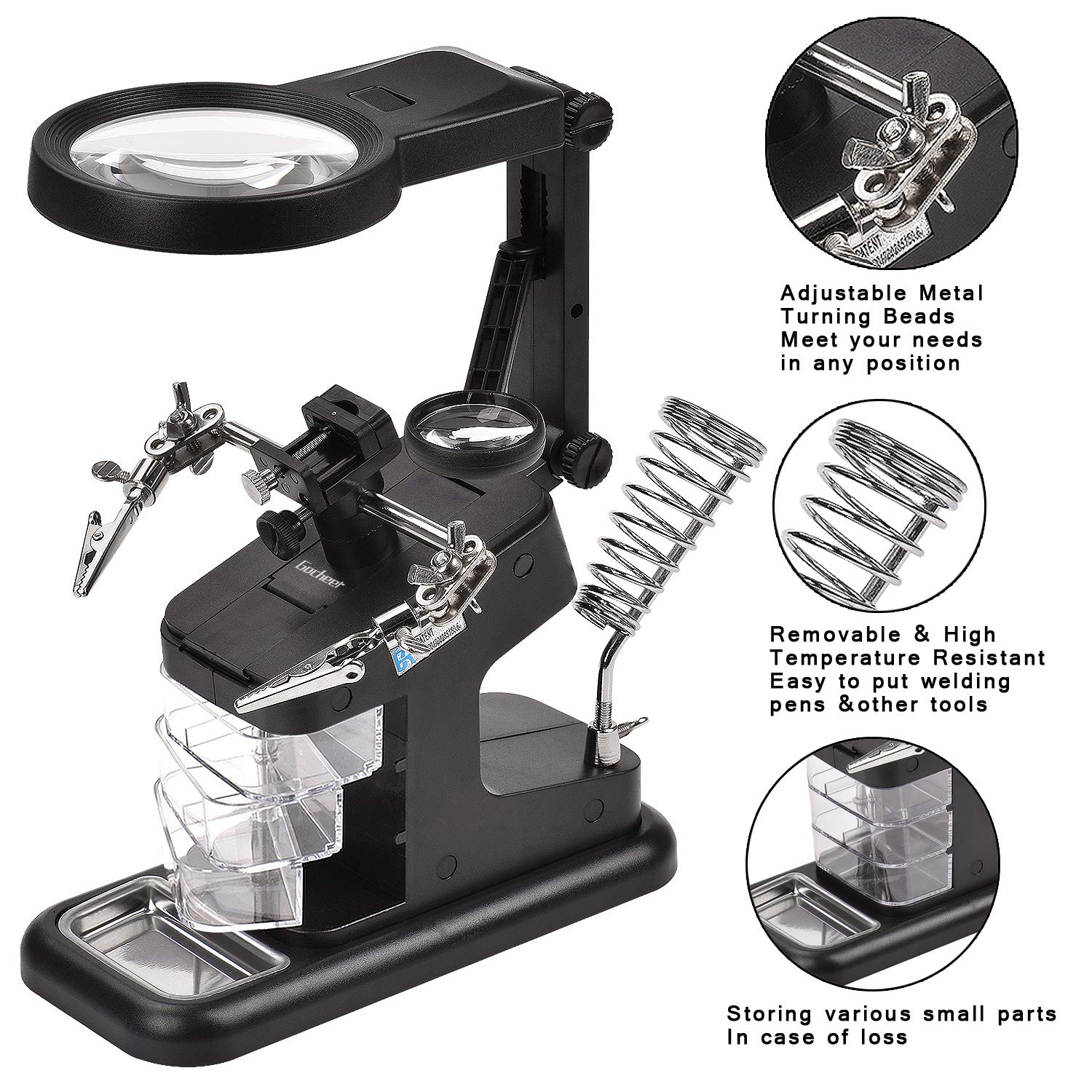 Gocheer Multi-functional Welding Magnifier 3X/4.5X/25X LED Light Helping Hands Magnifier Station with Clamp and Alligator Clips-Hobby Magnifier for Soldering, Assembly, Repair and Modeling