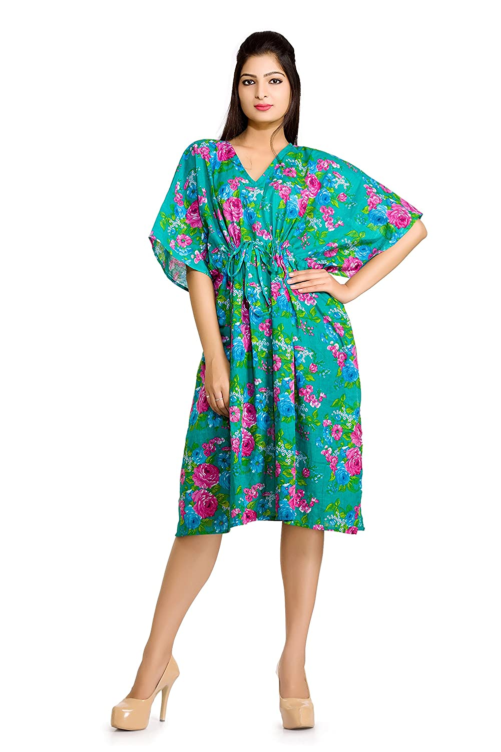 4daed64a967 cotton short caftan nightwear short cover up green floral printed maxi  short sexy maternity gown women s