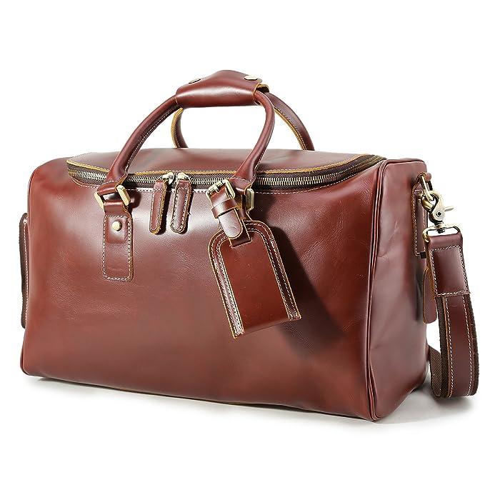 3e72f6871c6 BAIGIO Men s Vintage Leather Overnight Bag Travel Duffle Tote Carry On  Luggage