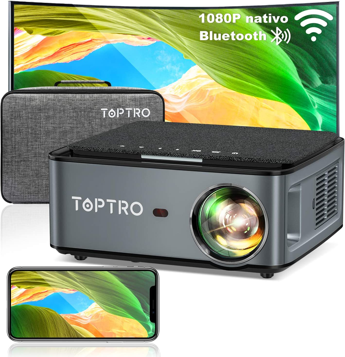 Proyector WiFi Bluetooth, TOPTRO 7500 Lúmenes Proyector Full HD 1920x1080P Nativo Soporta 4K, Ajuste Digital de 4 Puntos y Función de Zoom, Proyector Portátil LED Cine en Casa para PPT Phone PS5 etc.