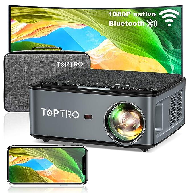 Proyector WiFi Bluetooth, TOPTRO 7500 Lúmenes Proyector Full HD 1080P Nativo Soporta 4K, Ajuste Digital de 4 Puntos y…