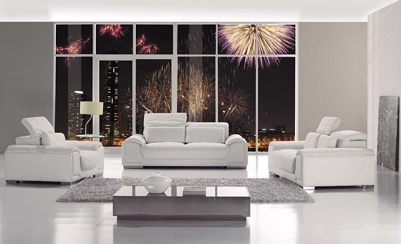 Amazon.com: T93 Contemporary White Leather Sofa Set: Kitchen ...