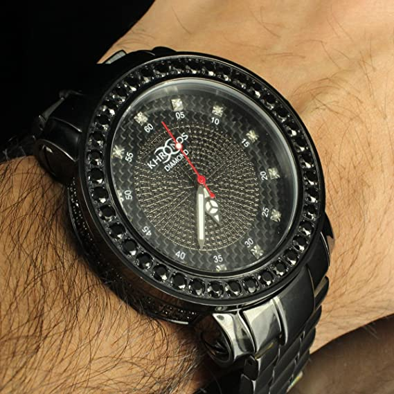 Elegante acero inoxidable diamond chic Hombres funda Kronos negro bisel Set reloj nuevo: Amazon.es: Relojes