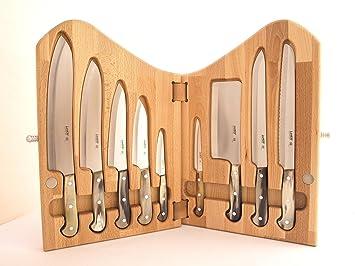 lanius 3300c collezione perla ceppo a libro in legno pz 9 coltelli cucina