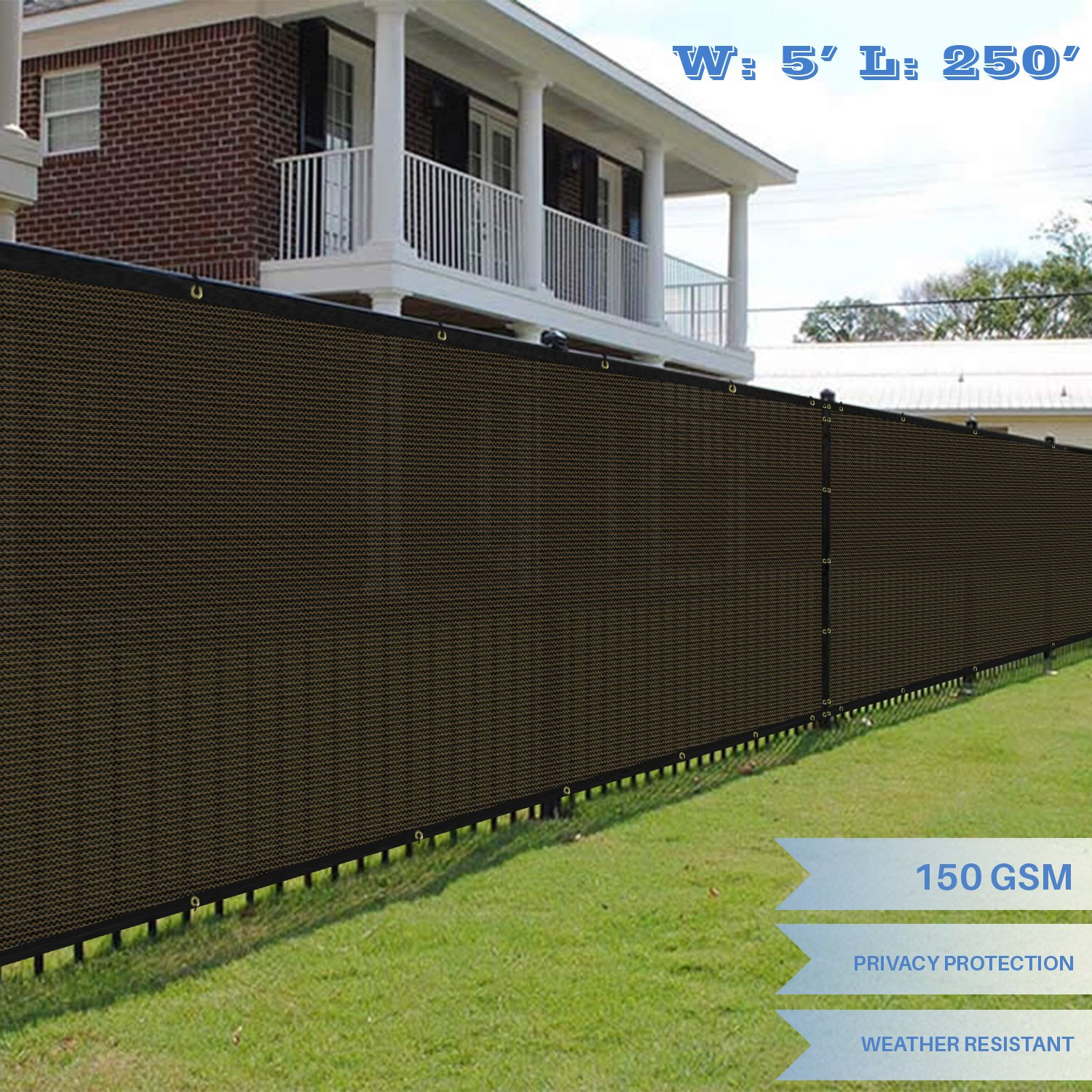 E&K Sunrise 5' x 250' Brown Fence Privacy Screen, Commercial Outdoor Backyard Shade Windscreen Mesh Fabric 3 Years Warranty (Customized Sizes Available) - Set of 1