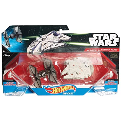 Hot Wheels Star Wars: The Force Awakens First Order TIE Fighter vs. Millennium Falcon Starship 2-Pack: Toys & Games