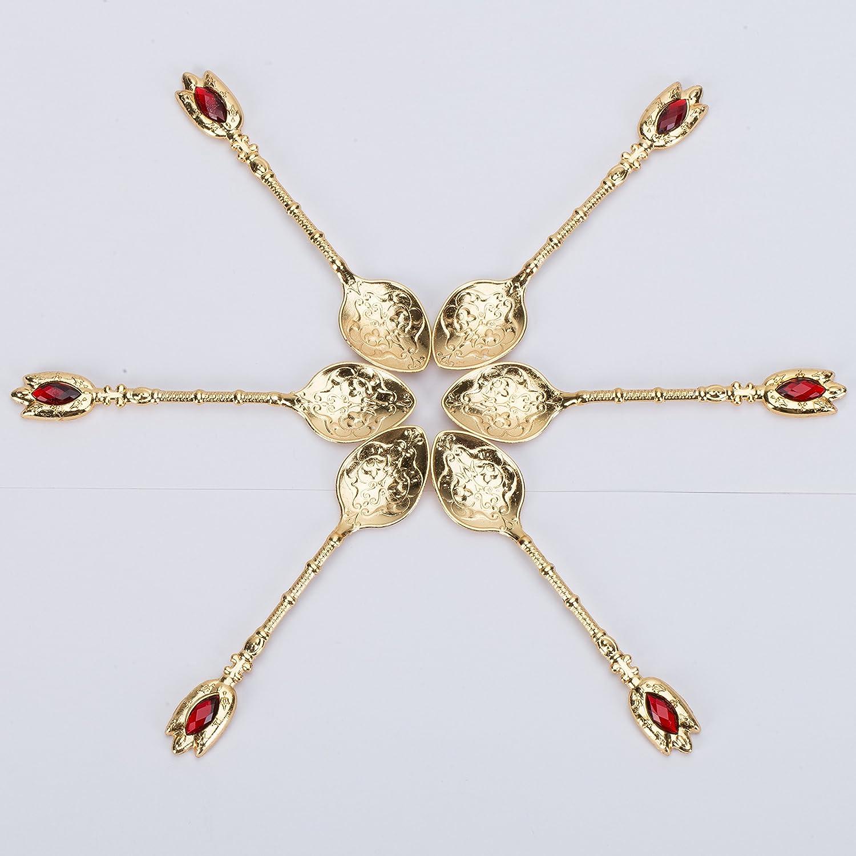 6 Türkische Teegläser mit Untersetzer, Untersetzer, Untersetzer, Halterungen und Löffel, verziert mit Kristallen und Kunstperlen, Goldfarben, 24-teiliges Set 85d2d8