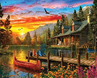 product image for Springbok's 1000 Piece Jigsaw Puzzle Cabin Evening Sunset