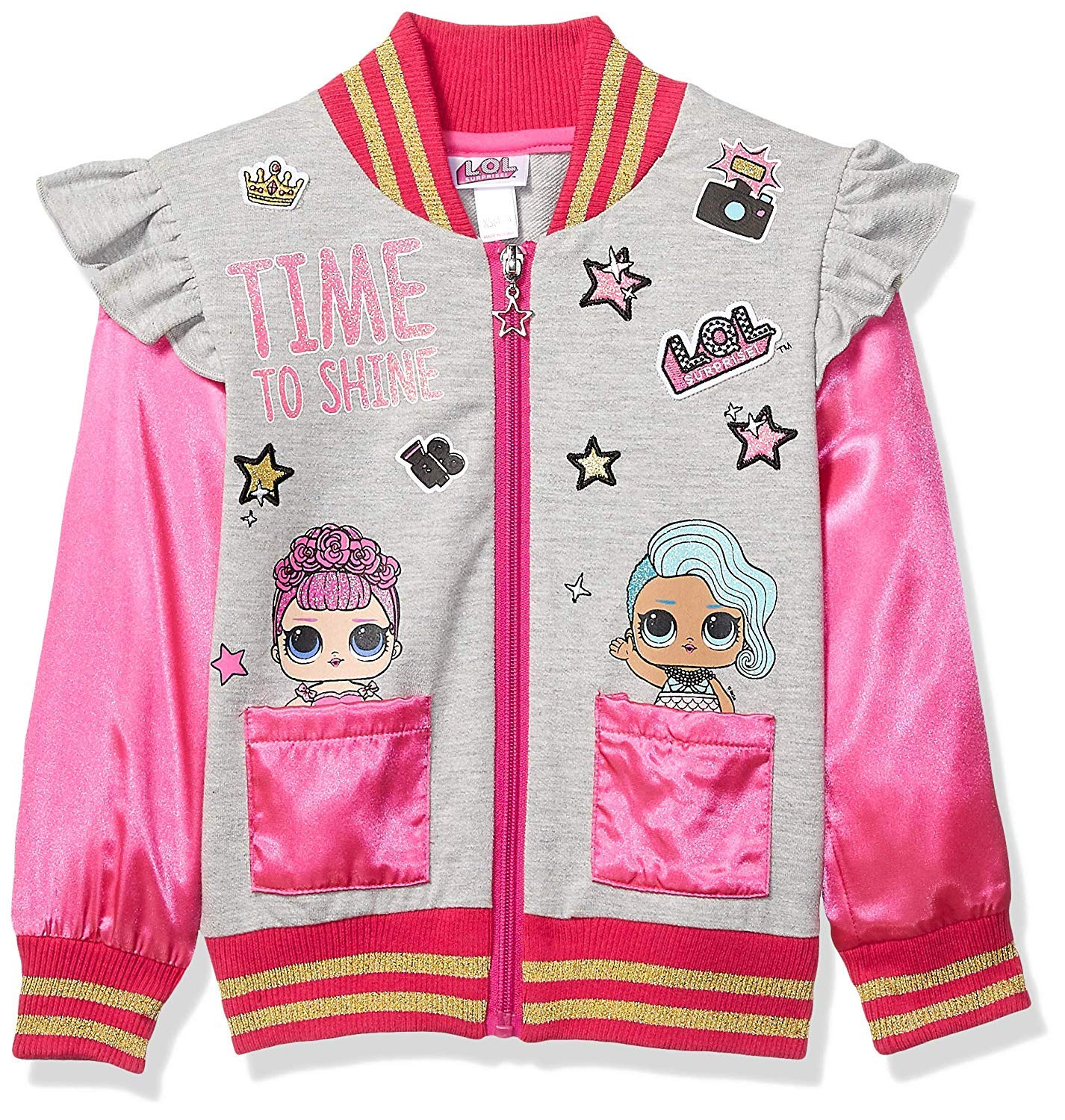 L.O.L. Surprise! Girls' Little LOL TIME to Shine Bomber Jacket, Multi, S (6/6X)