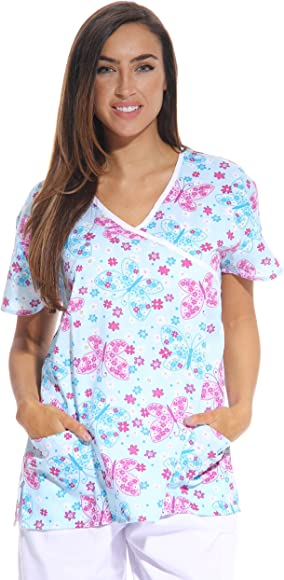 e98fbc15c7e Just Love Women's Scrub Tops/Scrubs - Extra Small - Blue Butterfly ...