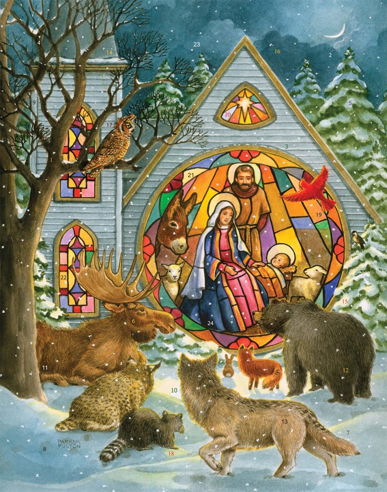 Vermont Christmas Company Stained Glass Nativity Advent Calendar