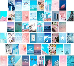 55 Pieces Wall Collage Kit, Blue Aesthetic Room Decor for Teen Girls, Beach Sky Wall Art Print, Wall Posters for Home Dorm, 4 x 6 Inch