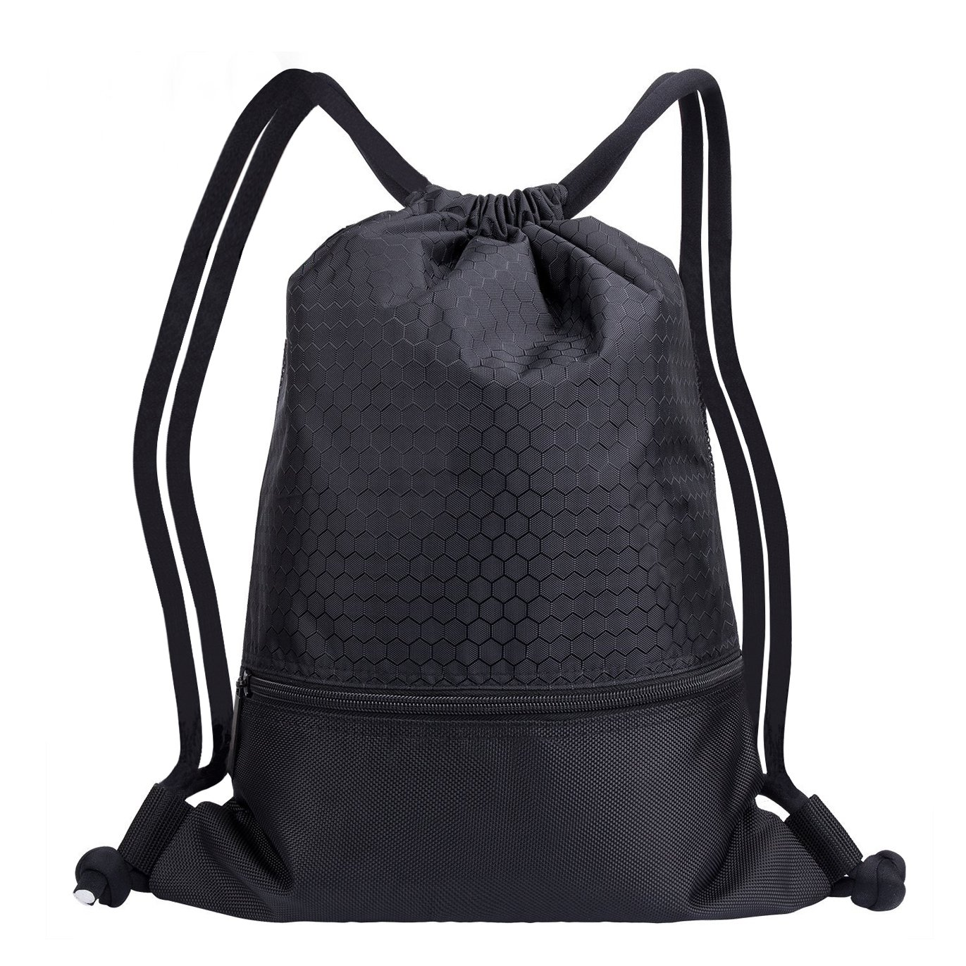 Drawstring Bag With Pockets Waterproof Sports Gym Bag with Large Capacity (Black)