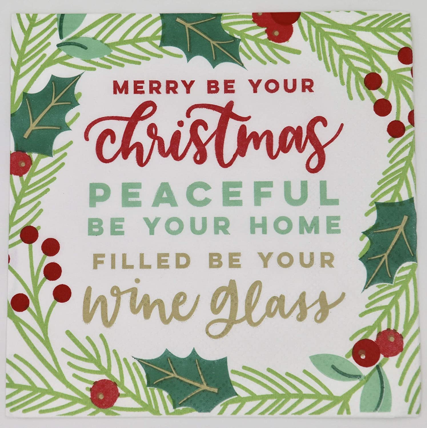 Filled be Your Wine Glass - Soiree Sisters Funny Holiday Themed Paper Beverage/Appetizer/Cocktail Napkins - 3 ply 5