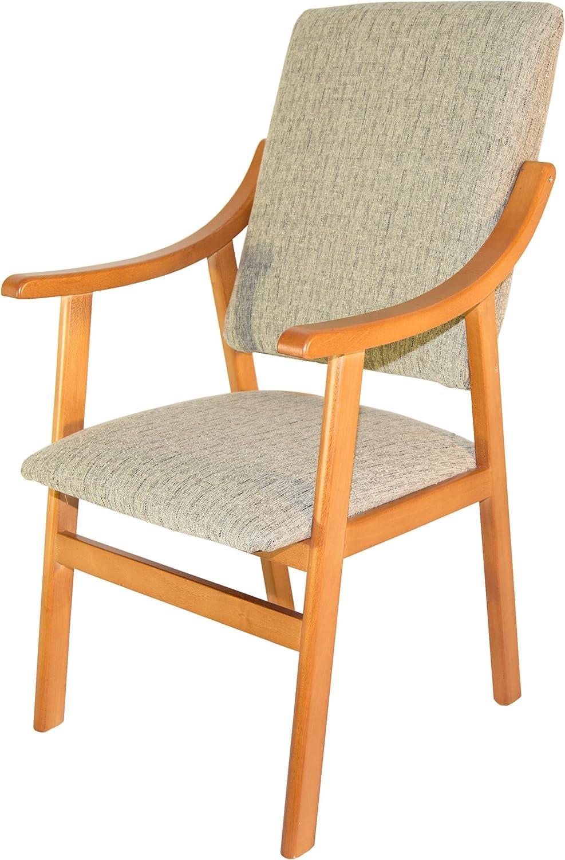 Sillón silla de madera maciza color cerezo. Tapizado arena ...