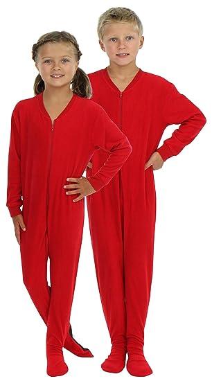 0f74ead71 Amazon.com  SleepytimePjs Infant   Kids Red Fleece Onesie PJs Footed ...