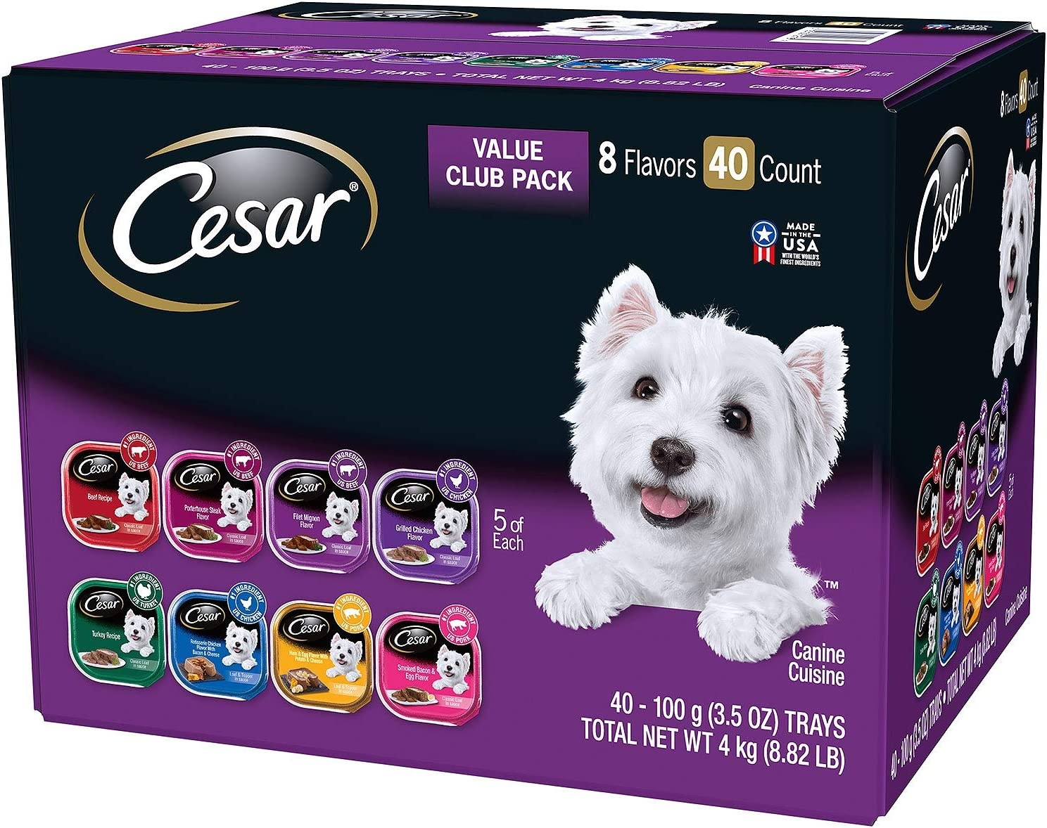 Cesar New 368152 Dog Wet Food 3.5Z Variety Pack (40-Pack) Dog Food Wholesale Bulk Pets Dog Food Boys