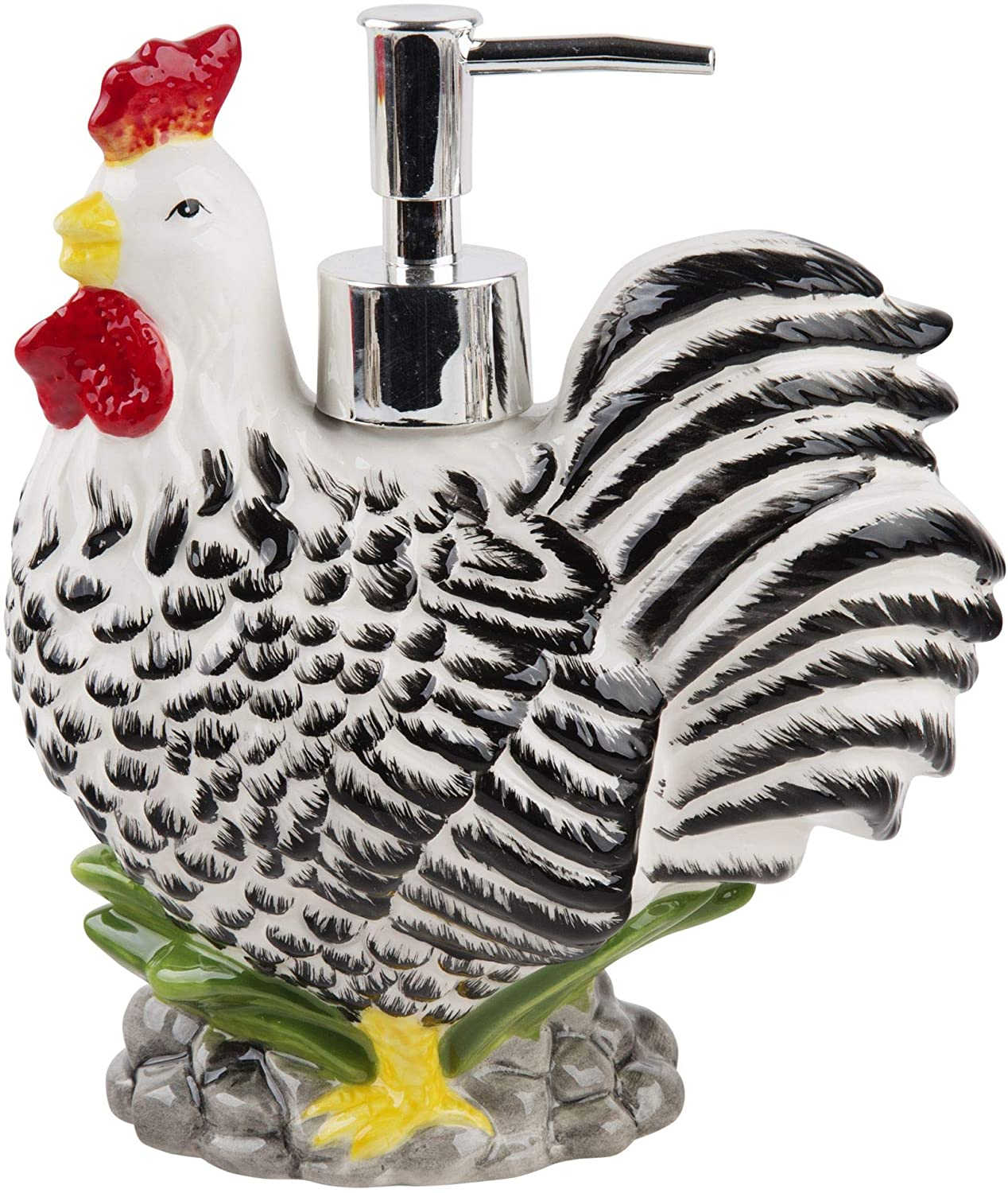 Home Essentials Ceramic Rooster Shaped Soap Dispenser- Lotion Dispenser for Kitchen or Bathroom Countertops