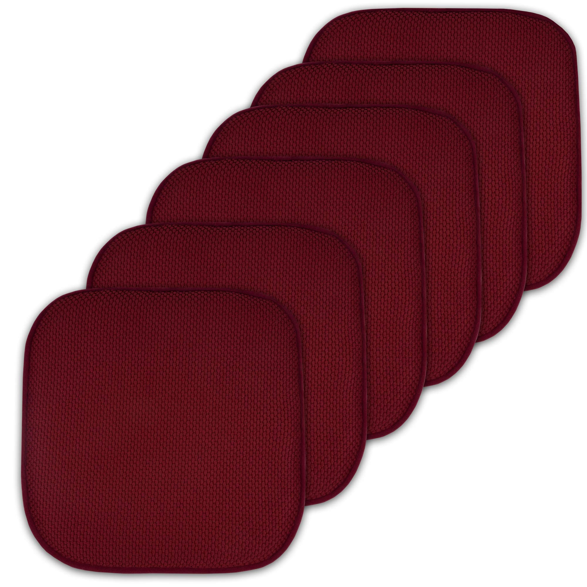 Sweet Home Collection Cushion Memory Foam Chair Pads Honeycomb Nonslip Back Seat Cover 16'' x 16'' 6 Pack Wine Burgundy