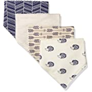 Touched by Nature Baby Organic Cotton Bandana Bibs 4-Pack, Hedgehog, 0-9 Months
