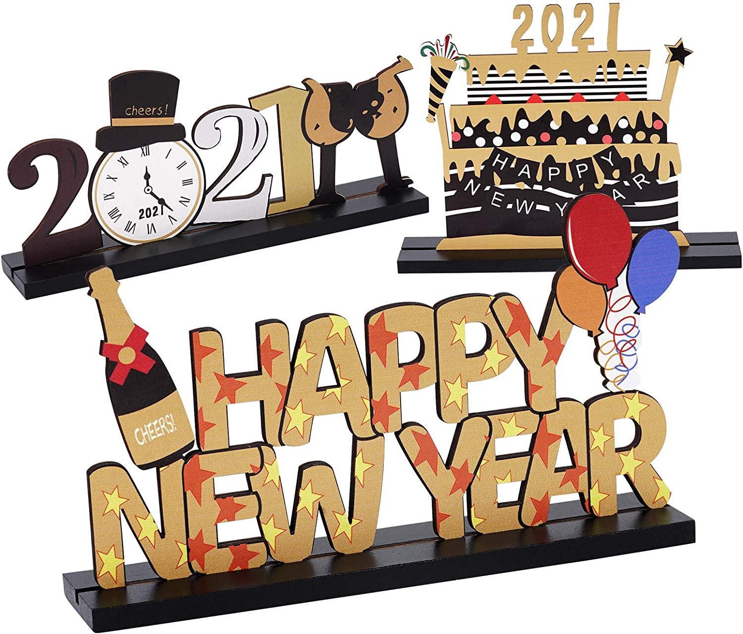 3 Pcs Happy New Year Wooden Table Decorations GIGIK 2021 Happy New Year Centerpiece Sign For Coffee Table Topper Dinner Party, Holiday Presents New Year Decors
